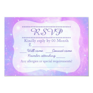 Magical pastel space galaxy RSVP 3.5x5 Paper Invitation Card