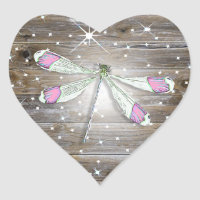 Magical Pink Dragonfly Sparkles Heart Sticker
