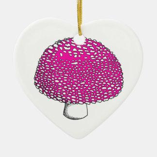 Magical Pink Mushroom Fungus Double-Sided Heart Ceramic Christmas Ornament