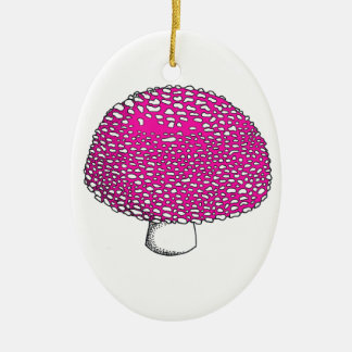 Magical Pink Mushroom Fungus Double-Sided Oval Ceramic Christmas Ornament