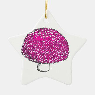 Magical Pink Mushroom Fungus Double-Sided Star Ceramic Christmas Ornament