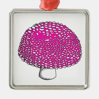 Magical Pink Mushroom Fungus Square Metal Christmas Ornament