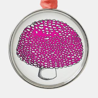 Magical Pink Mushroom Fungus Round Metal Christmas Ornament