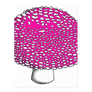 Magical Pink Mushroom Fungus Postcard