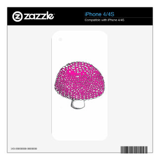 Magical Pink Mushroom Fungus Skin For The iPhone 4S