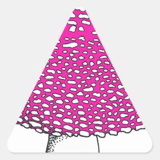Magical Pink Mushroom Fungus Triangle Sticker