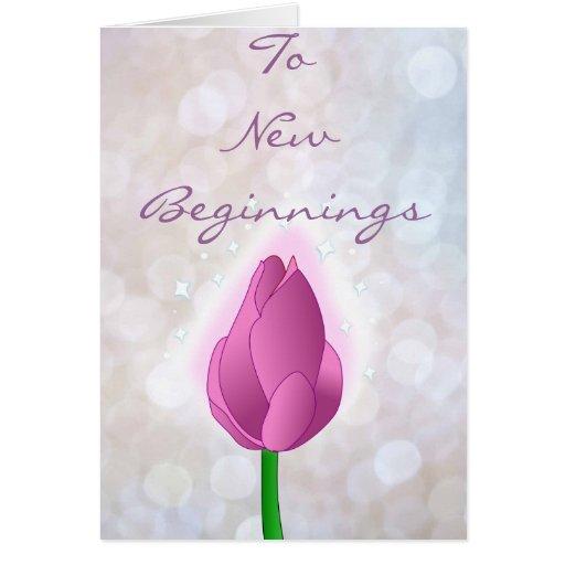 Magical Pink Rose bud on White Bokeh Greeting Card