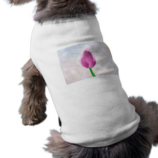 Magical Pink Rose bud on White Bokeh Pet Tee Shirt