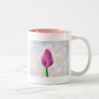 Magical Pink Rose bud on White Bokeh Two-Tone Coffee Mug