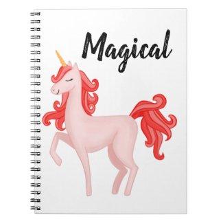 Magical Pink Unicorn Digital Art Notebook