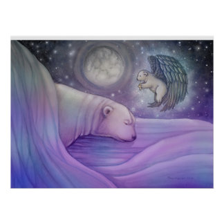 Magical Polar Bear and Angel Poster