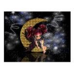 Magical post card cute little moon fairy