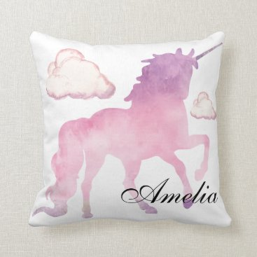 Beach Themed Magical Powdery cotton candy Unicorn in Watercolor Throw Pillow