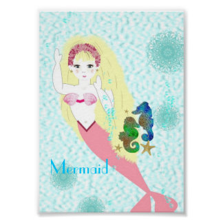 Magical Pretty Mermaid Swims with Sea Horses Poster