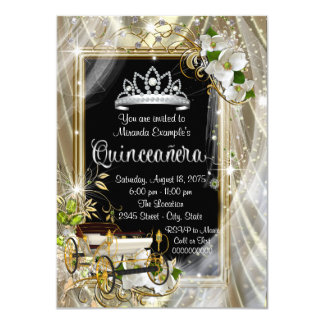 Magical Princess Black and Gold Quinceañera Card
