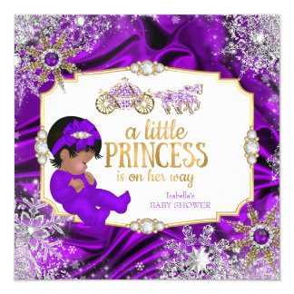 Magical Princess Girl Baby Shower Purple Ethnic Card