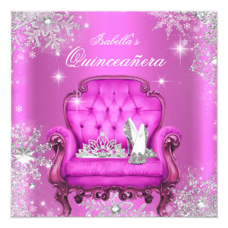 Magical Princess Quinceanera Pink Birthday Party Card