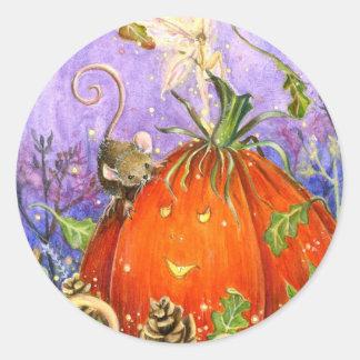 Magical Pumpkin and Little Friends Classic Round Sticker