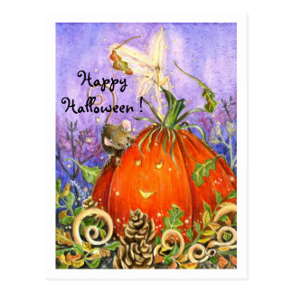 Magical Pumpkin and Little Friends Postcard