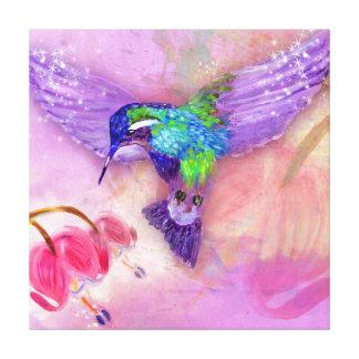 Magical purple hummingbird gallery wrap canvas