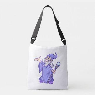 Magical purple wizard magician sorceress crossbody bag