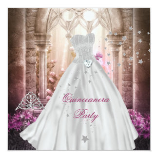Magical Quinceanera 15th Pink Princess Party Custom Invite