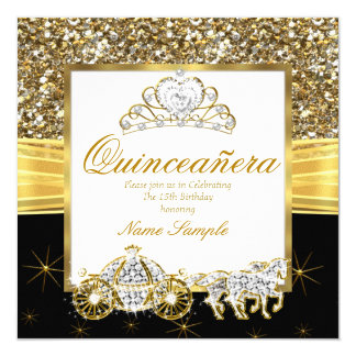 Magical Quinceanera Gold Black Horse Carriage Card
