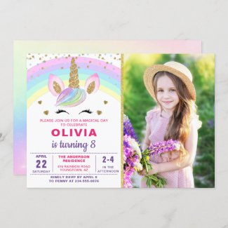 Magical Rainbow Gold Unicorn Girl Photo Birthday Invitation