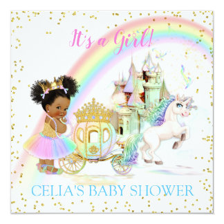 Magical Rainbow Princess Castle Carriage Unicorn Card