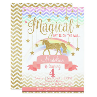 Magical Rainbow Unicorn Birthday Party Invitation at Zazzle