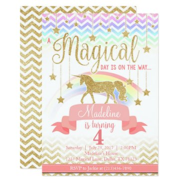 birthday Magical Rainbow Unicorn Birthday Party Invitation