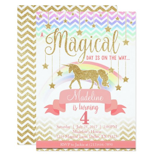 Birthday Quotes For Invitations: Magical Rainbow Unicorn Birthday Party Invitation
