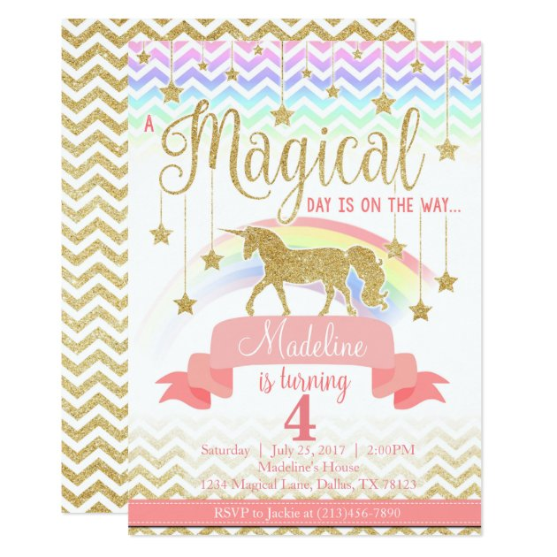 Magical Rainbow Unicorn Birthday Party Invitation Zazzle