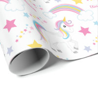 Magical Rainbow Unicorn Birthday Personalized Wrapping Paper