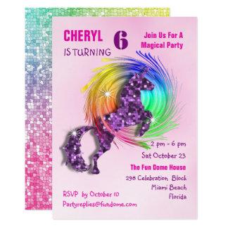 Magical Rainbow Unicorn Cute Girly Party Invite