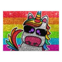 Magical Rainbow Unicorn Glitter Whimsical Birthday Invitation