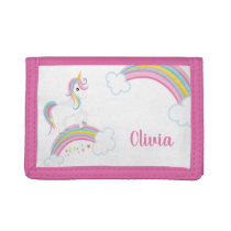 Magical Rainbow Unicorn Personalized Girls Trifold Wallet