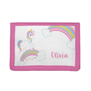 dc34fb4009c00 Magical Rainbow Unicorn Personalized Girls Trifold Wallet