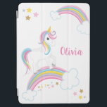 "Magical Rainbow Unicorn Personalized iPad Air Cover<br><div class=""desc"">A cute unicorn iPad cover with stars and a rainbow. Personalize with her name to make a fun gift for a girl!</div>"