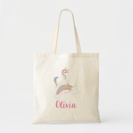 Magical Rainbow Unicorn Personalized Tote Bag