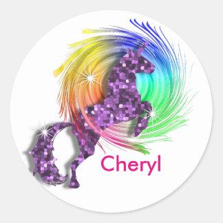 Magical Rainbow Unicorn Themed Classic Round Sticker