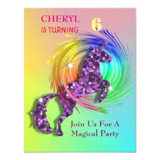 Magical Rainbow Unicorn Themed Party Card