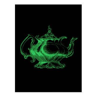 Magical Retro Green Altered Light Victorian Teapot Postcard