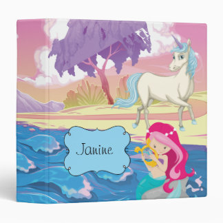 Magical Riverbank with Fairies Unicorn and Mermaid 3 Ring Binder