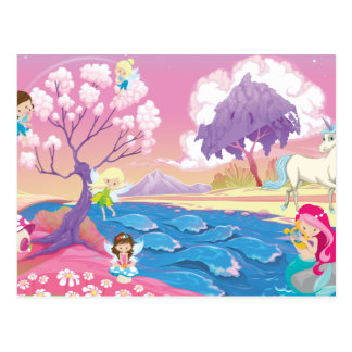 Magical Riverbank with Fairies Unicorn and Mermaid Postcard