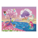 Magical Riverbank with Fairies Unicorn and Mermaid Poster