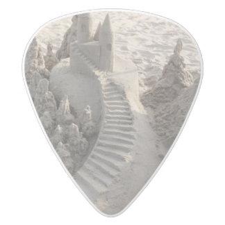 Magical Sand Castle White Delrin Guitar Pick