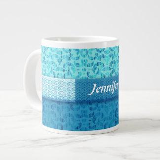 Magical Sea Green Fantasy Damask 20 Oz Large Ceramic Coffee Mug