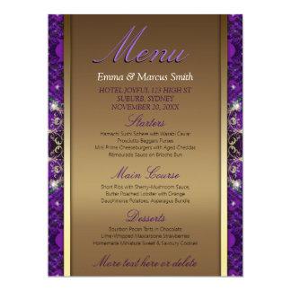 Magical Sparkle Gold+Purple Wedding Big Size Menu Card