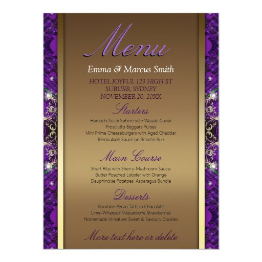 Magical Sparkle Gold Purple Wedding Big Size Menu Card